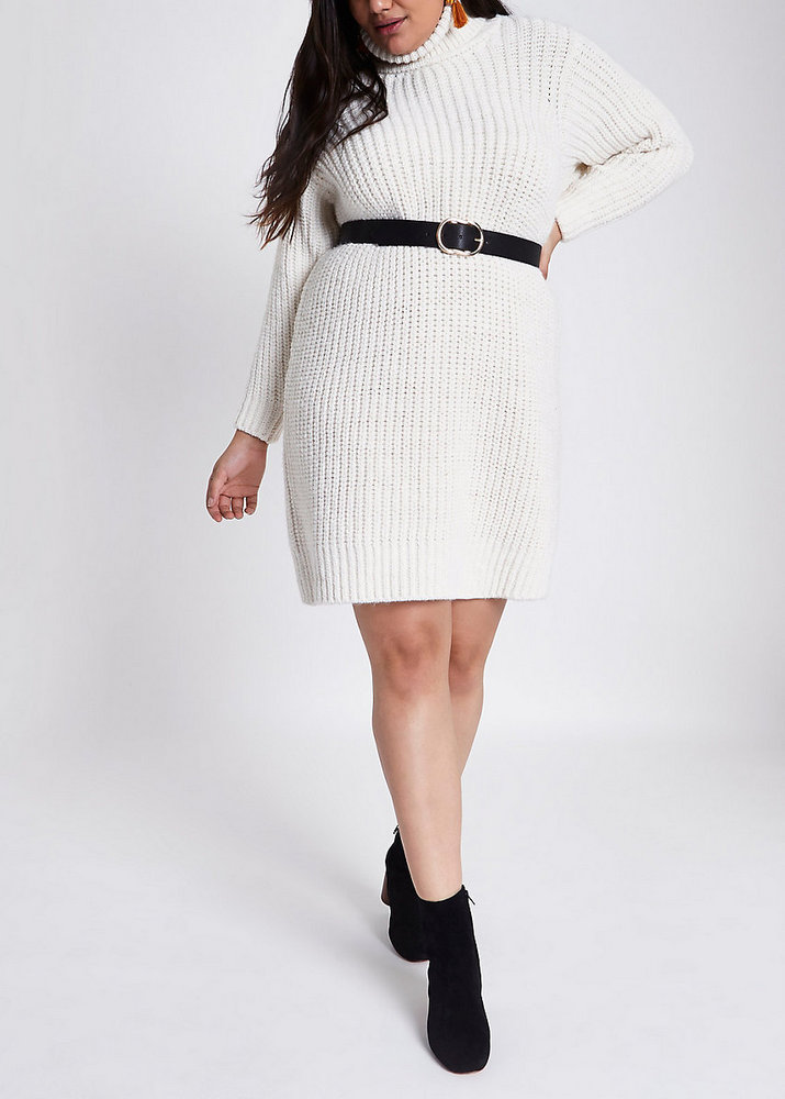 822dcd0150f Fall Plus Size Sweater Dresses  Plus cream roll neck sweater dress