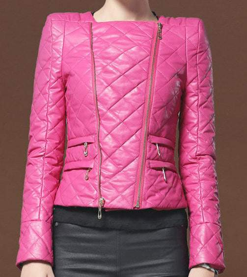 Stylish Collarless Leather Jacket