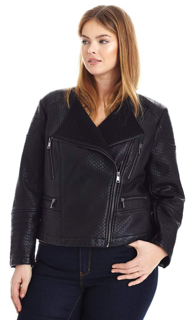 Textured Vegan Leather Moto