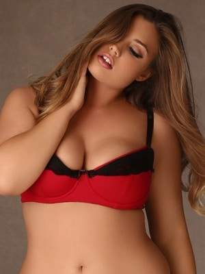 Fold Down Lace Bra in Black and Red