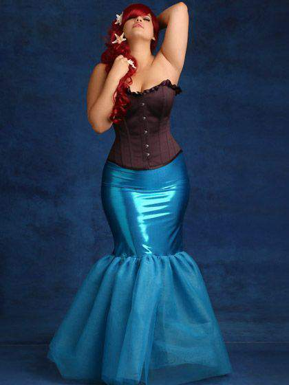 Metallic Trumpet Tulle Mermaid Skirt