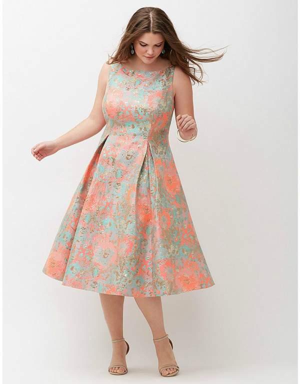 Midi Sleeveless Jacquard Dress by Adrianna Papell