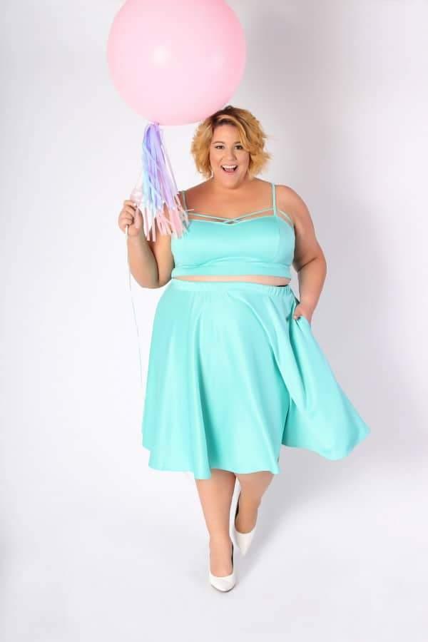 Jessica Kane Mint Fresh Skirt Set with Pockets