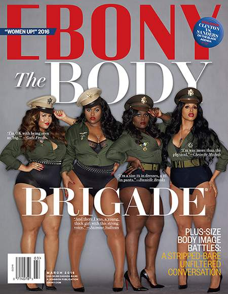 Plus size women cover Ebony Magazine