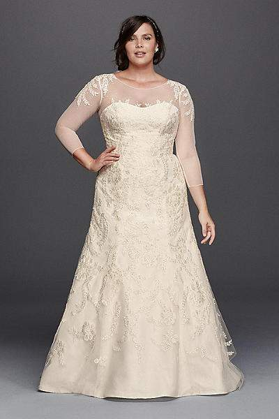 For the plus size bride oleg cassini for david 39 s bridal for Wedding dress sizes compared to normal sizes