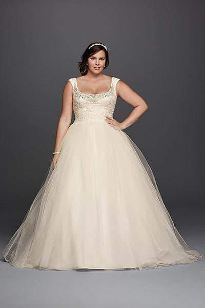 For the plus size bride oleg cassini for david 39 s bridal for Wedding dress designer oleg cassini
