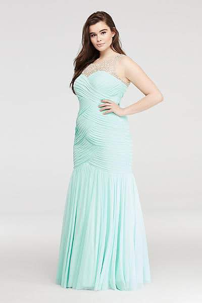 Mermaid Prom Dress with Beaded Illusion Neckline