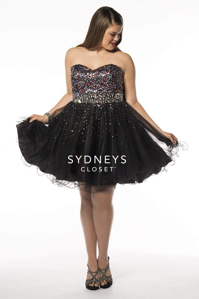 LITTLE TEASE Short plus size sequin party dress