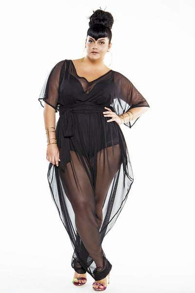 15 Plus Size Cover Ups: Bat Wing Sheer Plus Size Poolside Jumpsuit