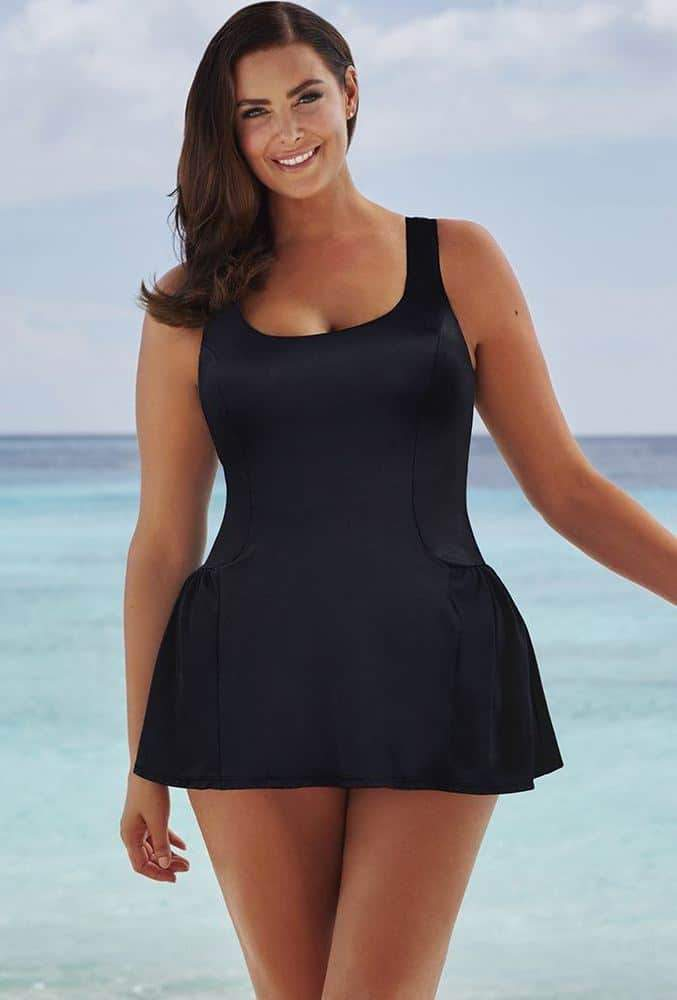 25 Plus Size Swimdresses Perfect for Summer on The Curvy Fashionista: Black Princess Seam Swimdress by Beach Belle