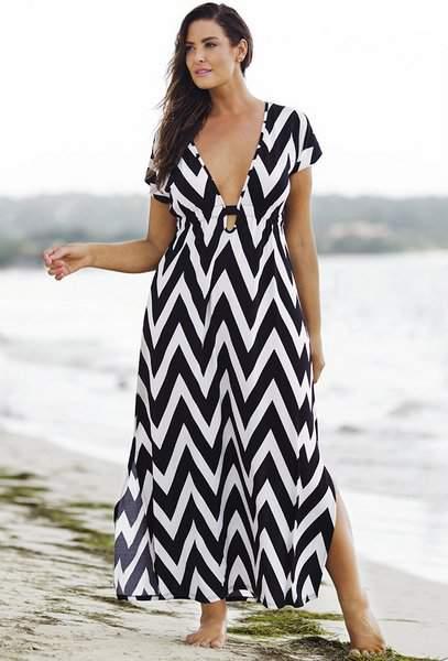 15 Plus Size Cover Ups: Chevron Plunge Maxi Dress
