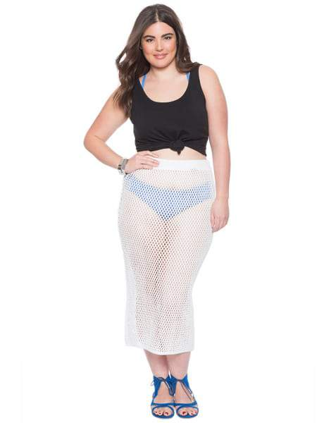 15 Plus Size Cover Ups: Crochet Plus Size Swim Cover Up Skirt