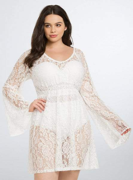 15 Plus Size Cover Ups: Lace Bell Sleeve Plus Size Cover Up