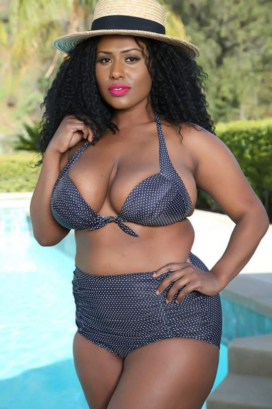 Sexy Black Polka Dot High Waist Plus Size Swimsuit at AmiClubWear.com