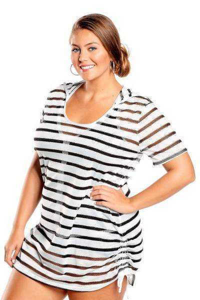 15 Plus Size Cover Ups: Textured Stripe Plus Size Cover Up