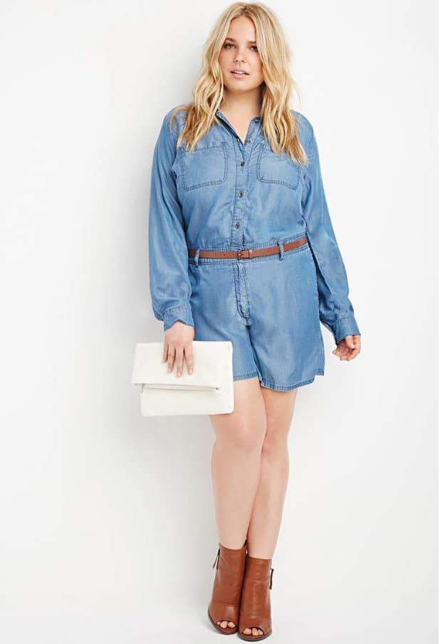 Plus Size Belted Chambray Romper at Forever21.com