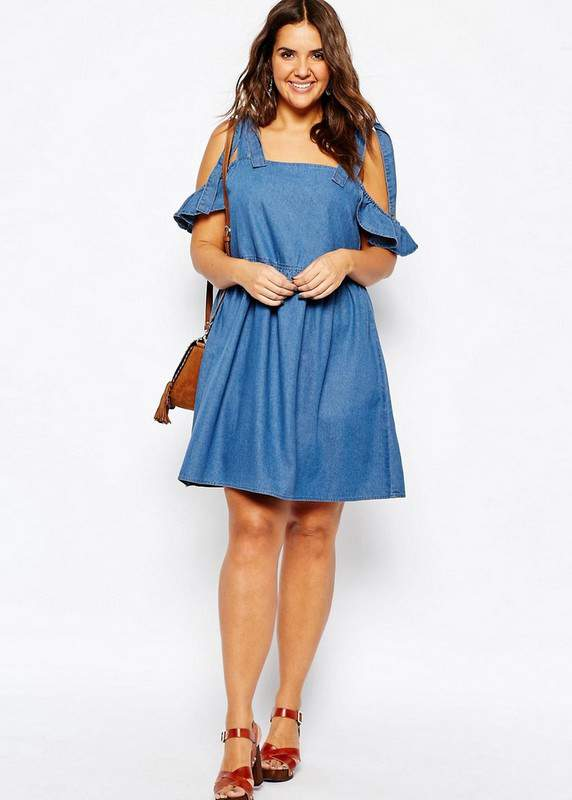 Denim Easy Smock Dress with Cold Shoulder at ASOS