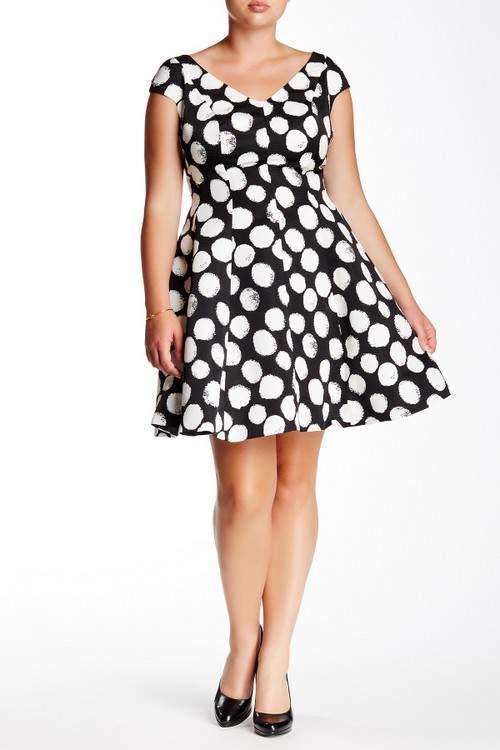 Julia Jordan Polka Dot V-Neck Dress