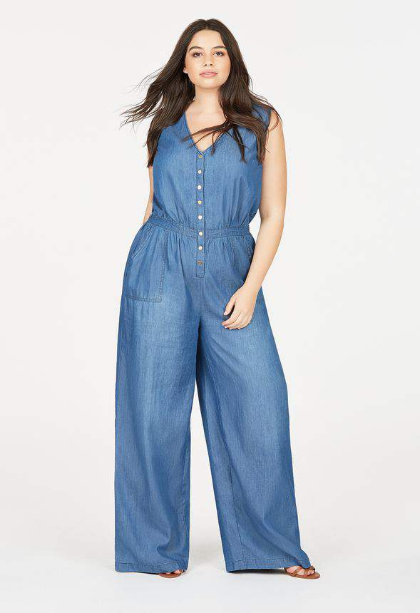 Just Fab Plus Size Denim Chambray Jumpsuit