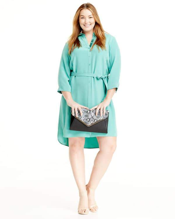 Lafayette 148 Plus Size Agner 3-4-Sleeve Shirtdress