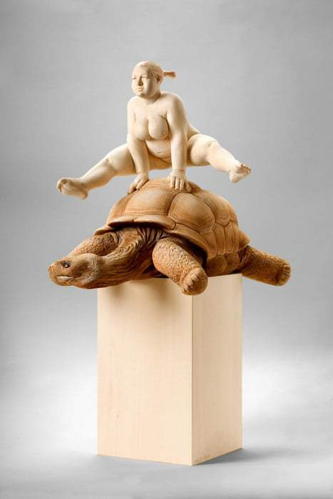 Matthias Verginer- Plus Size Art The Rabbit and the Turtle