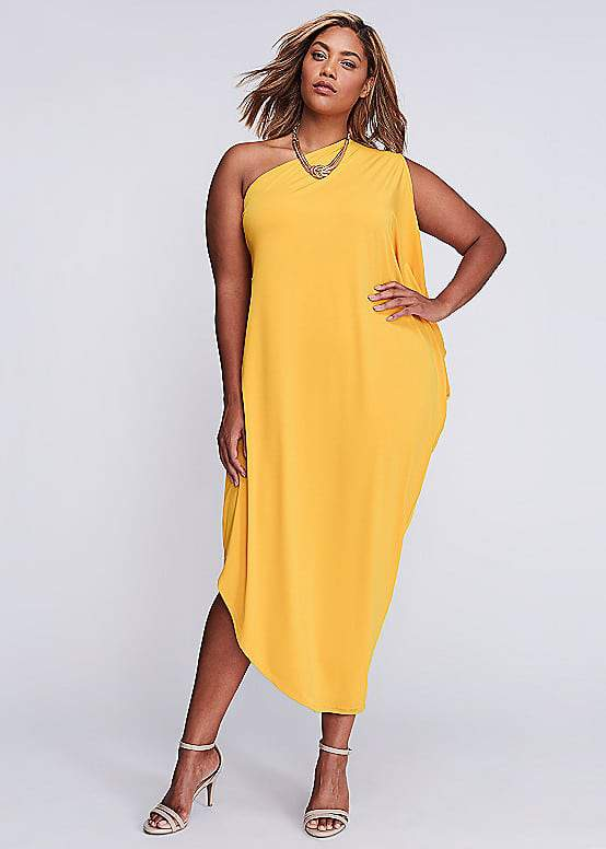 One-Shoulder Draped Maxi Dress at LaneBryant