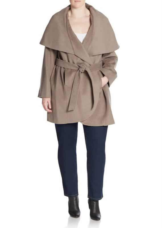 T Tahari Marla Plus Size Wool-Blend Wrap Coat
