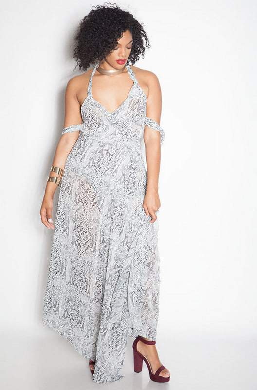 The Kingdom Chiffon Semi Sheer Wrap Maxi Dress at Rebdolls