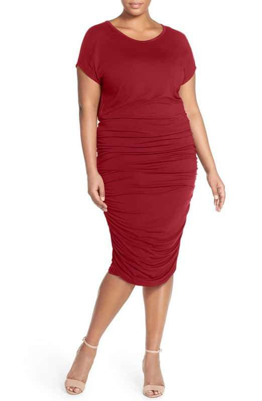 Vince Camuto Side Ruched Jersey Midi Dress at Nordstrom