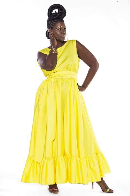 Yellow Ruffle Sleeveless Spring Maxi Dress at JibriOnline