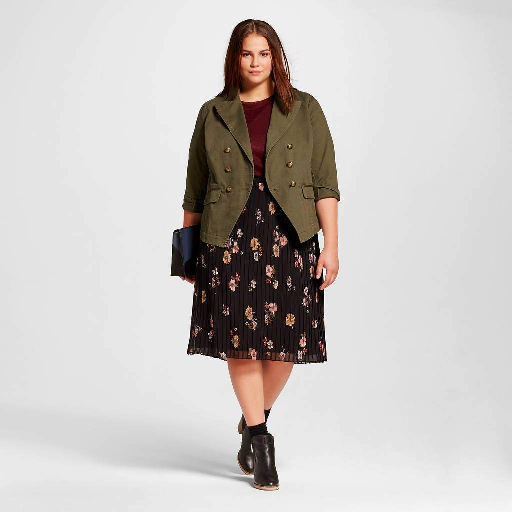 WhoWhatWear Plus Fall Floral Pleats