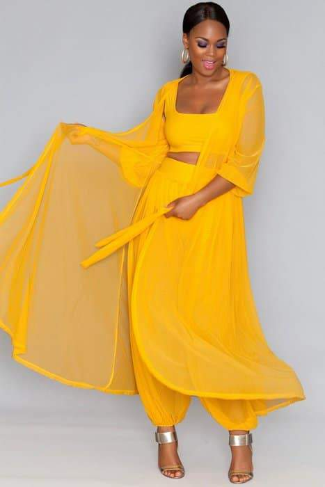 Rue 107 Juicy Fruit Collection - In Plus Size Too: Rue 107 Yellow Sammie Sheer Dress
