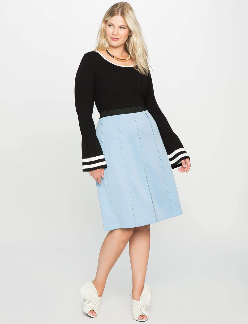 Plus Size Studio Scalloped Skirt at Eloquii