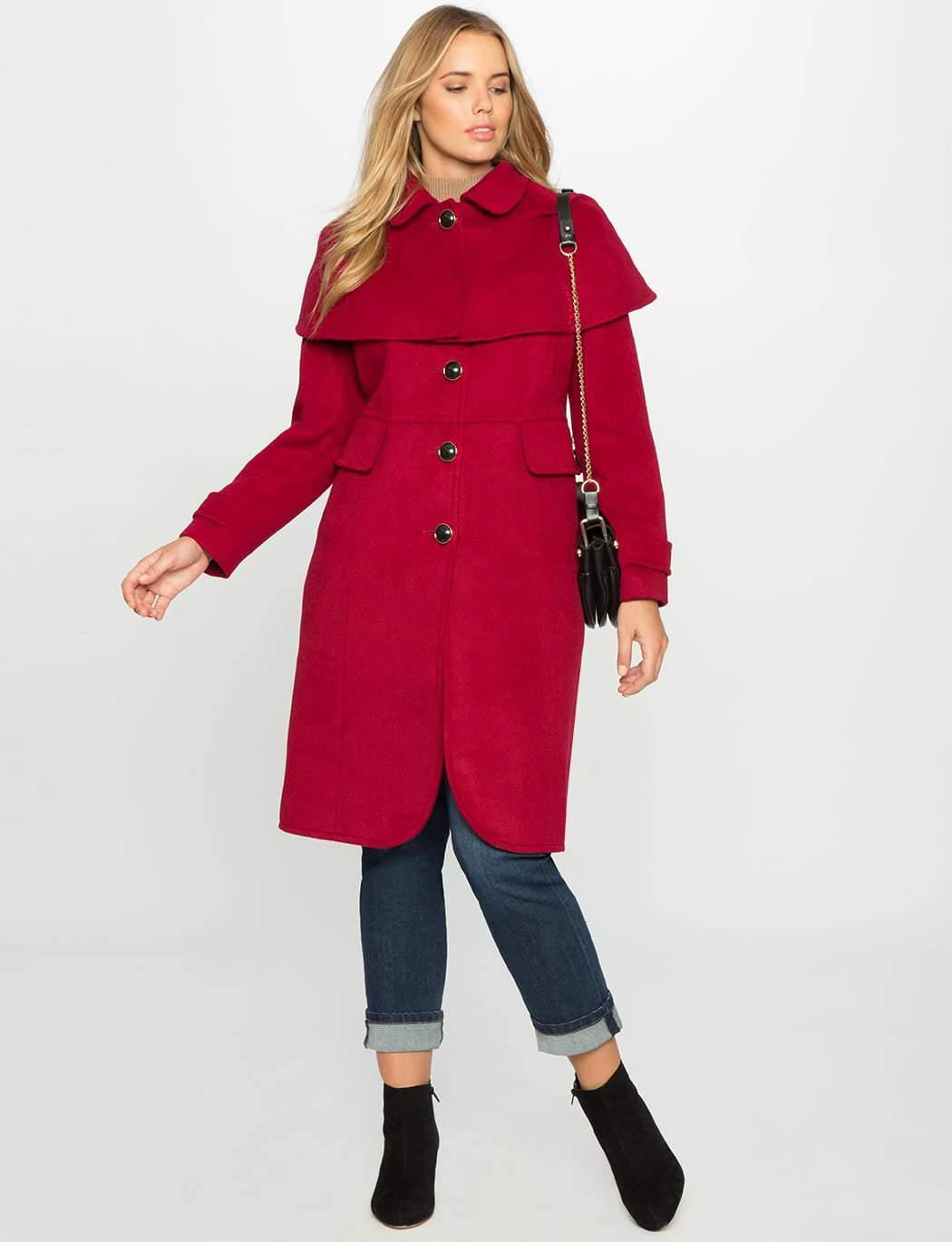 Studio Tulip Hem Coat with Cape