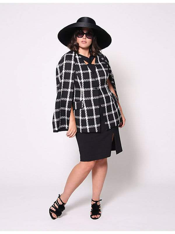 Christian Siriano for Lane Bryant Boucla Plaid Cape