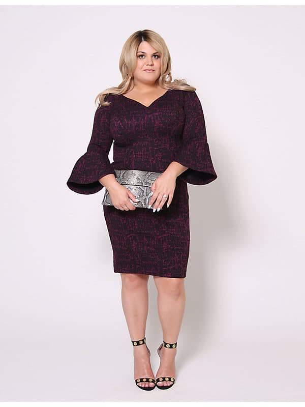 Christian Siriano for Lane Bryant Boucle Bell Sleeve Dress