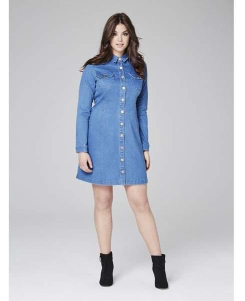 button down denim dress