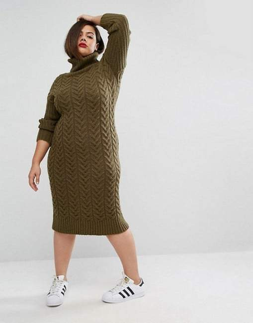 Alice & You Knitted Utility Roll Neck Plus Size Midi Dress
