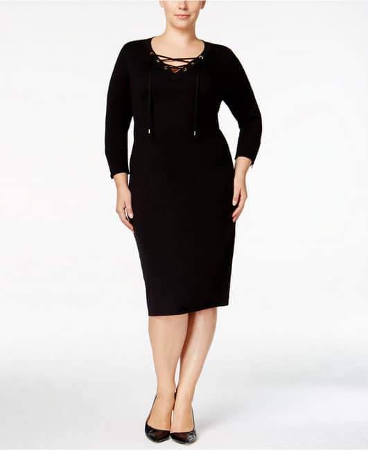Calvin Klein Plus Lace-Up Sweater Dress
