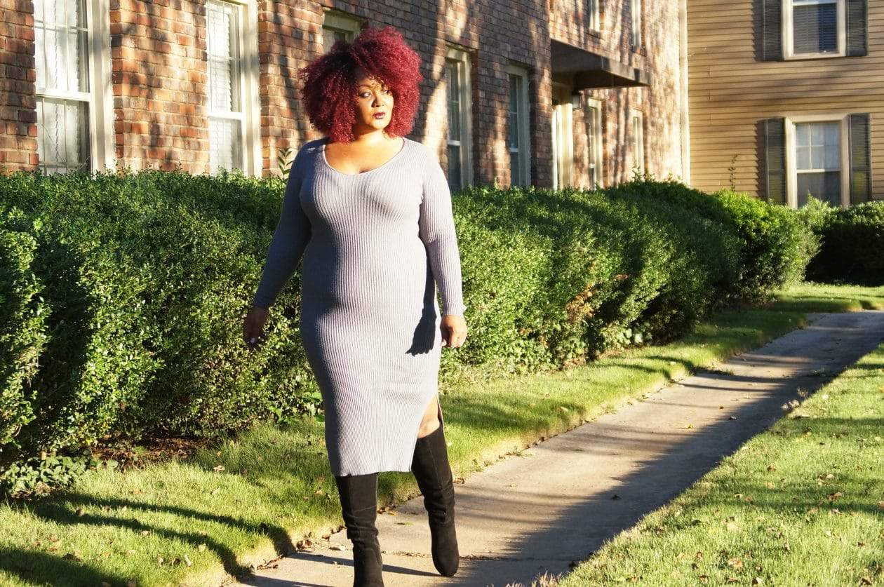 Plus Size Sweater Dress Weather with Kohl's on Marie Denee, The Curvy Fashionista
