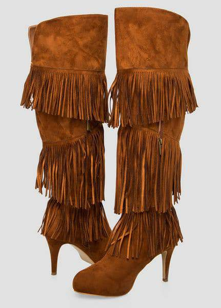 Fringe Knee High Wide Calf Boot at Ashley Stewart