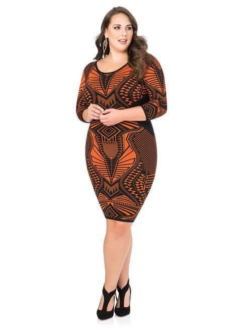 Geo Bodycon Plus Size Sweater Dress