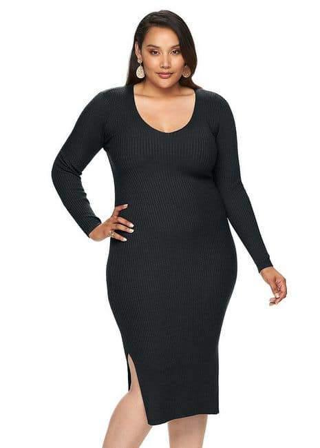 Jennifer Lopez Ribbed V-Neck Sweater dress