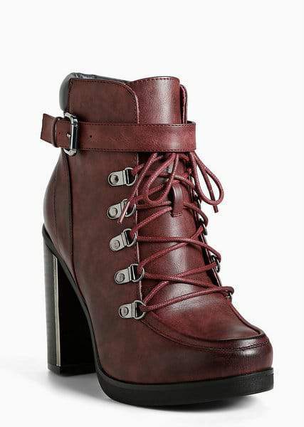 Lace Up Combat Metal Heel Boots