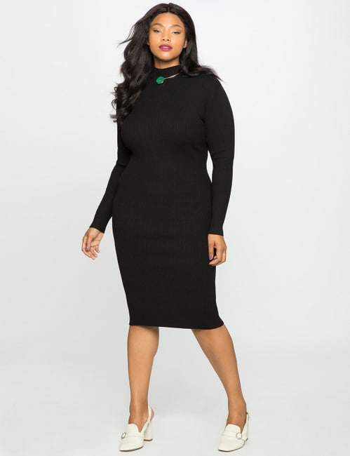 Mock Neck plus size Sweater Dress