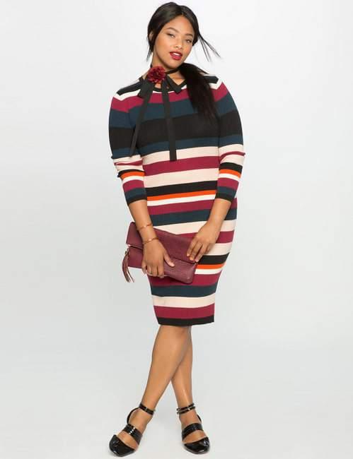 Rib Knit Plus Size Sweater Dress