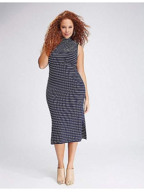 Striped Sleeveless Mock-Neck Sweater Dress