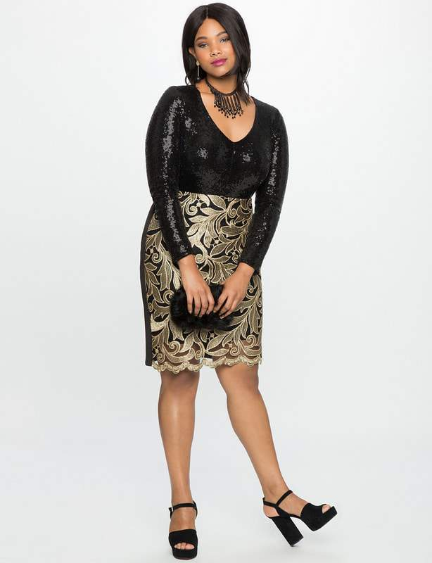 Studio V-Neck Plus Size Sequin Bodysuit at Eloquii