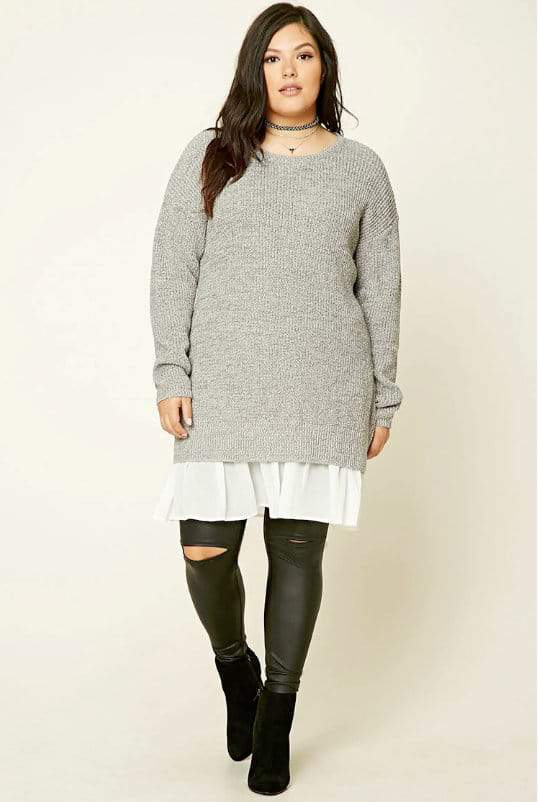 Plus Size Purl Knit Tunic