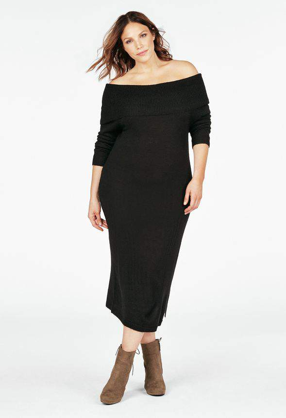 OFF SHOULDER SWEATER DRESS at Just Fab